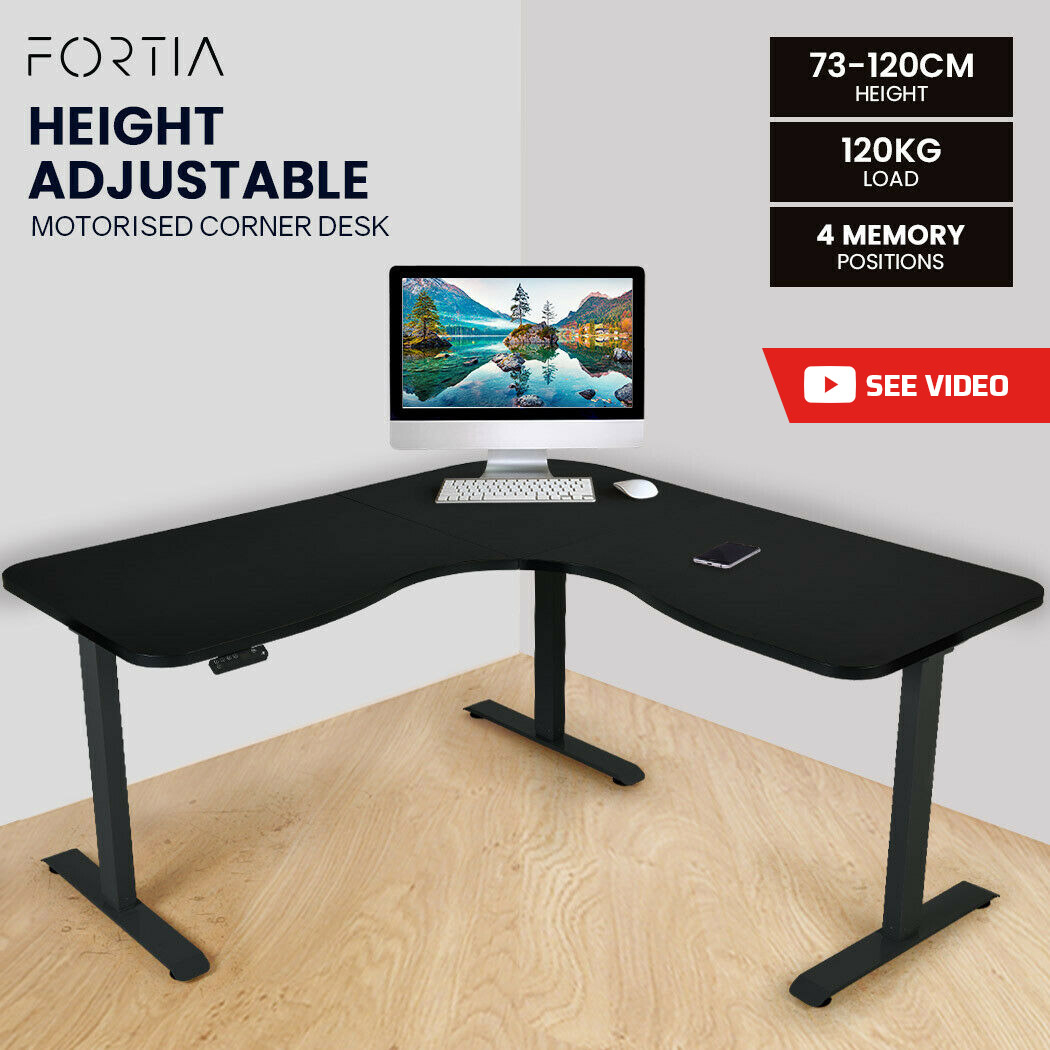 FORTIA Height Adjustable Standing Corner Desk Sit Stand, Electric, Motorised Office Black Frame