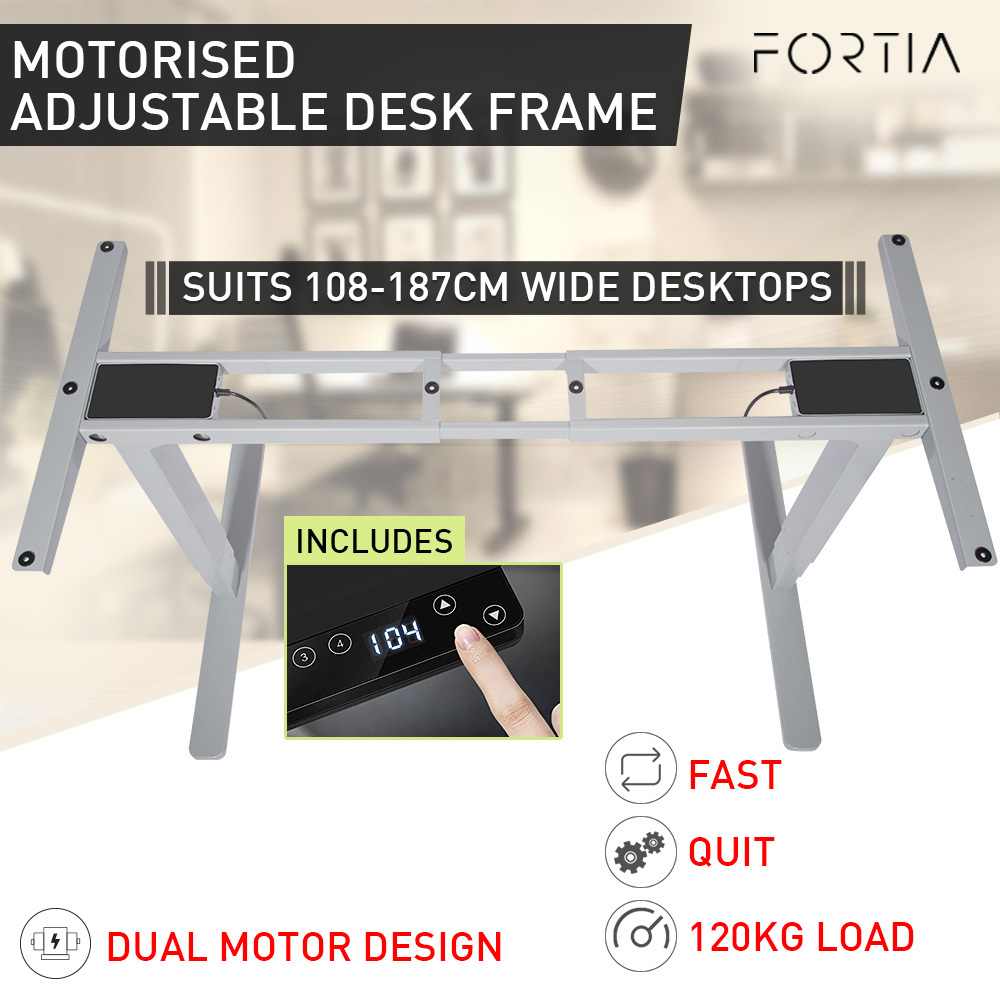 FORTIA Sit/Stand Height Adjustable Standing Desk Motorised Frame Silver