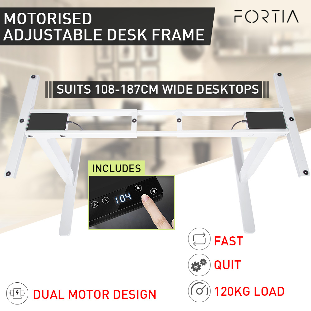 FORTIA Sit/Stand Motorised Height Adjustable Desk White - Frame Only