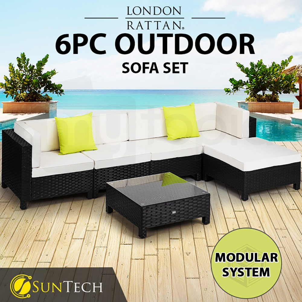 LONDON RATTAN Modular Sofa Outdoor Lounge Set 6pc Wicker Black Cream