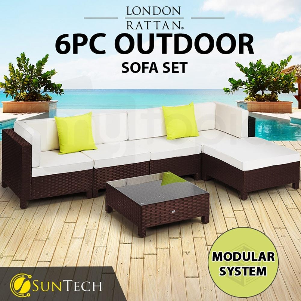 LONDON RATTAN Modular Sofa Outdoor Setting Furniture 6pc Wicker Brown Cream