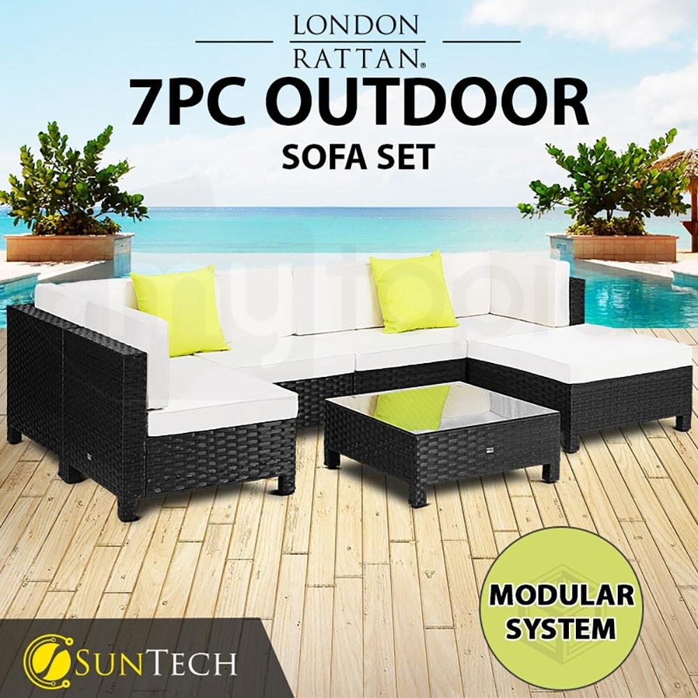 LONDON RATTAN Modular Sofa Outdoor Lounge Set 7pc Wicker Black Cream