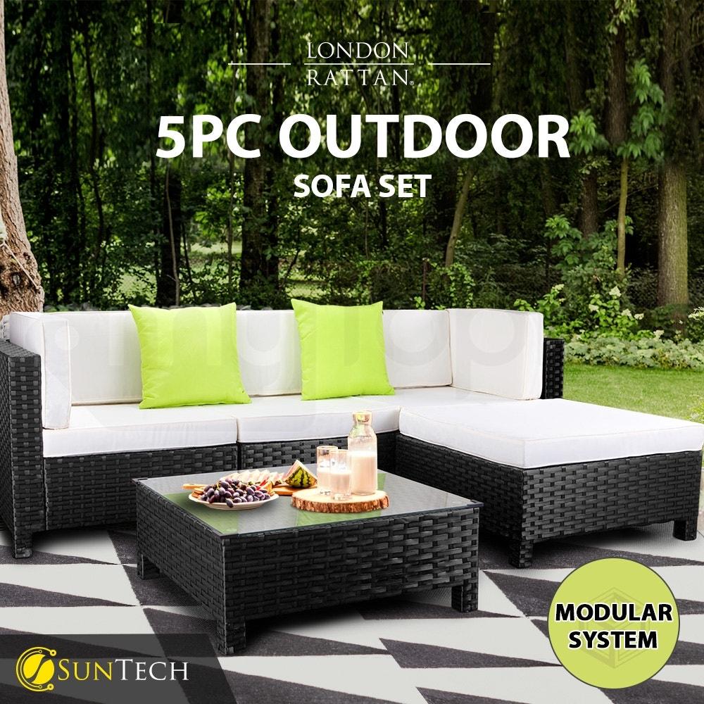 LONDON RATTAN Modular Sofa Outdoor Lounge Set 5pc Wicker Black Light Grey