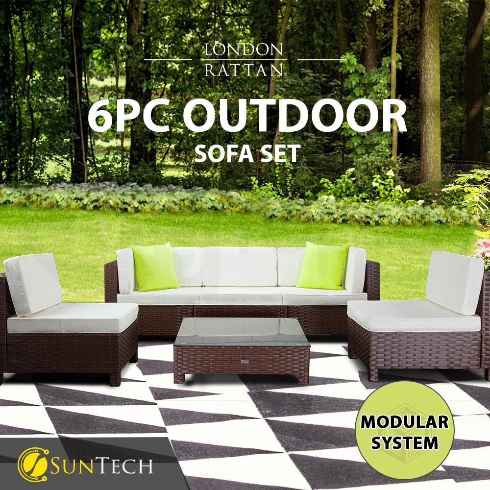LONDON RATTAN Modular Sofa Outdoor Lounge Furniture 6pc Wicker Brown Cream