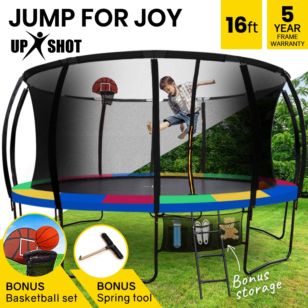 UP-SHOT 16ft Round Kids Trampoline with Curved Pole Design and Basketball Set, Black and Multi-colour