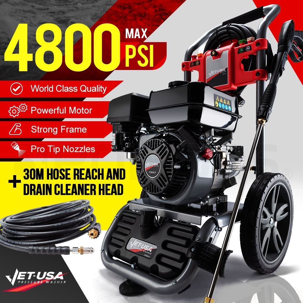 JET-USA 4800PSI Petrol Powered High Pressure Washer w/ 30m Hose Reach and Drain Cleaner - CX630 Gen IV
