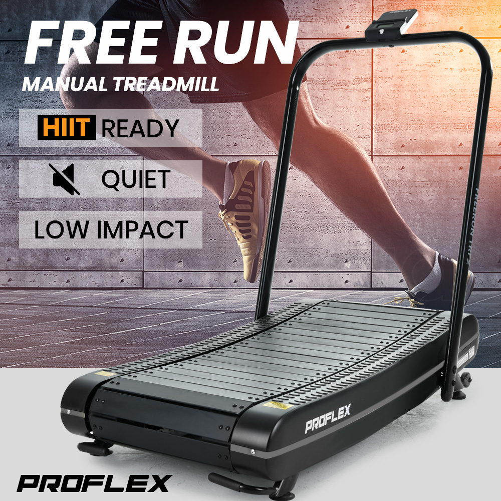 PROFLEX Manual Passive Treadmill with Curved Belt, Black and Grey