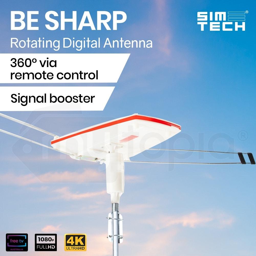 SIMTECH Rotating Digital Outdoor HD TV Antenna with Amplified Signal