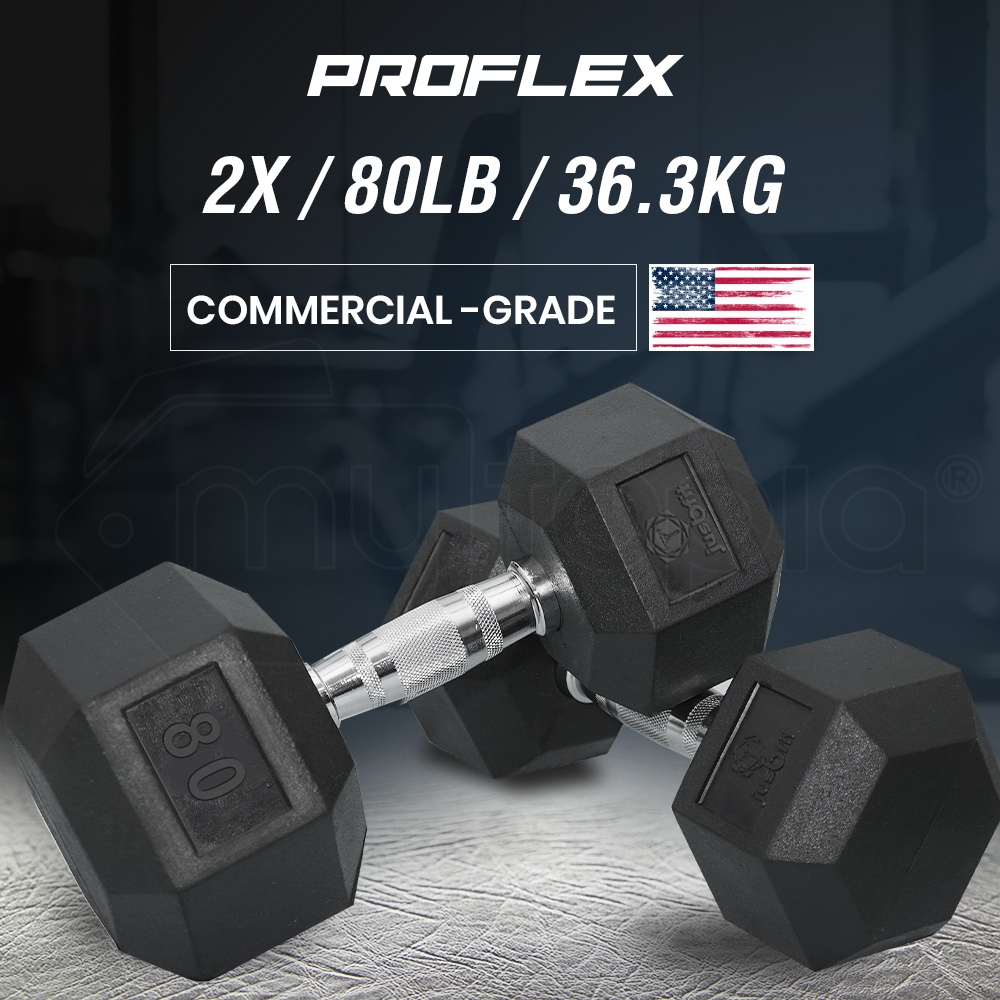 PROFLEX Pair of 80lb Rubber-Coated Hex Dumbbells for Gym Home Fitness Bodybuilding Weights Training