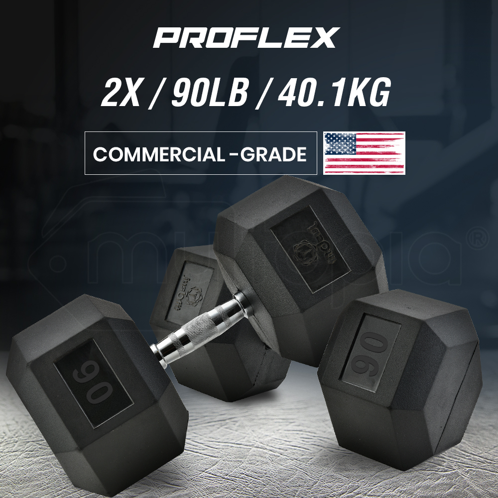 PROFLEX Pair of 90lb Rubber-Coated Hex Dumbbells for Gym Home Fitness Bodybuilding Weights Training