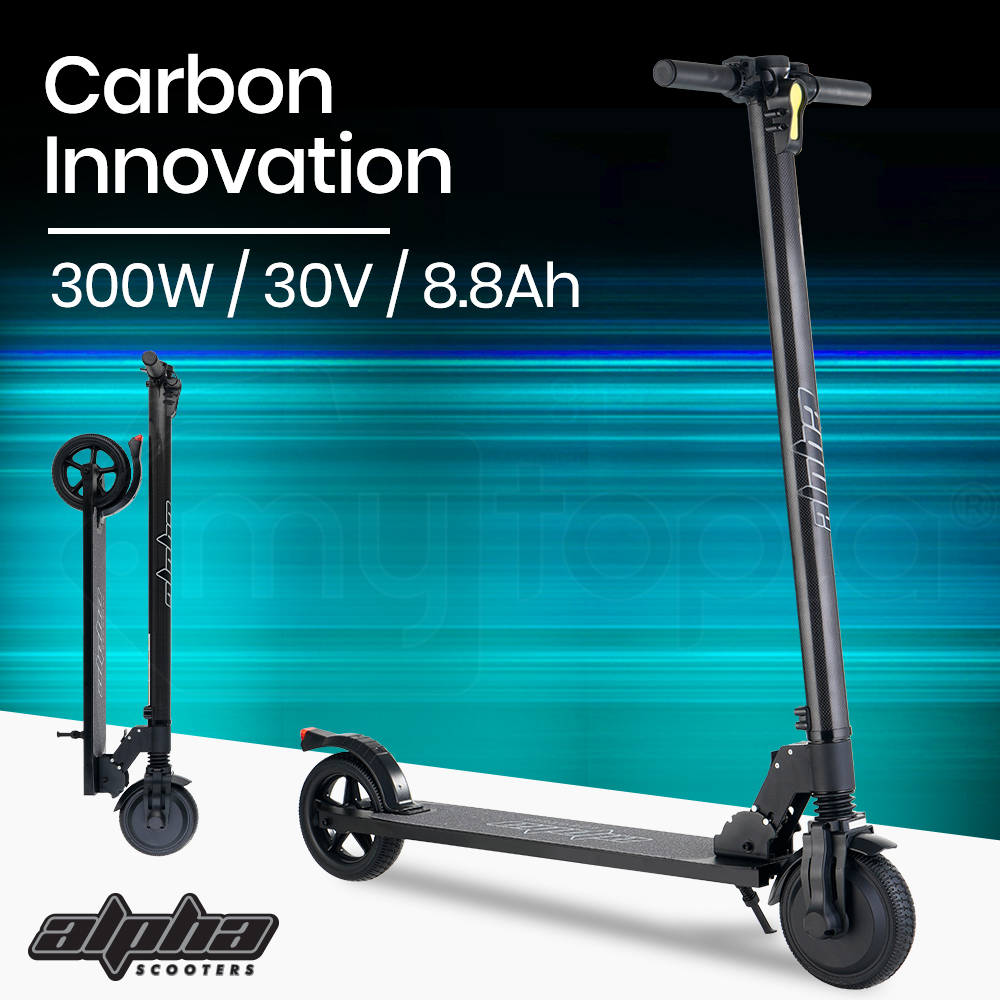 PRE-ORDER ALPHA 300W 8.8Ah Folding Carbon Electric Scooter Suspension