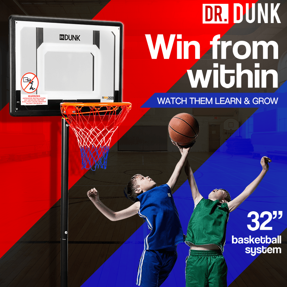 Dr.Dunk Adjustable Basketball Stand System Kids Hoop Portable Height Rim Ring
