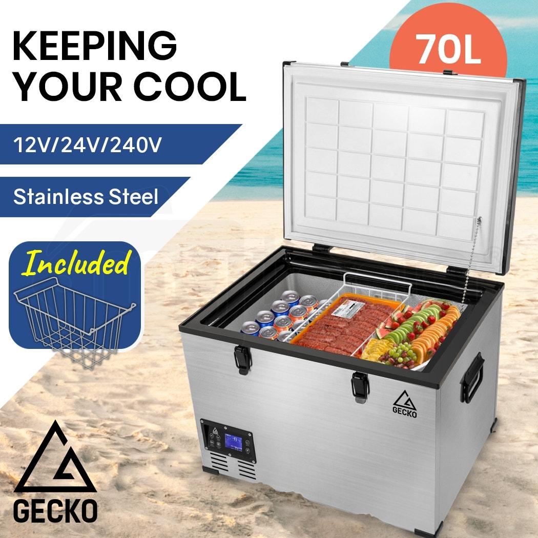 GECKO 70L 12V/24V/240V Portable Camping Fridge Freezer for Caravan Car