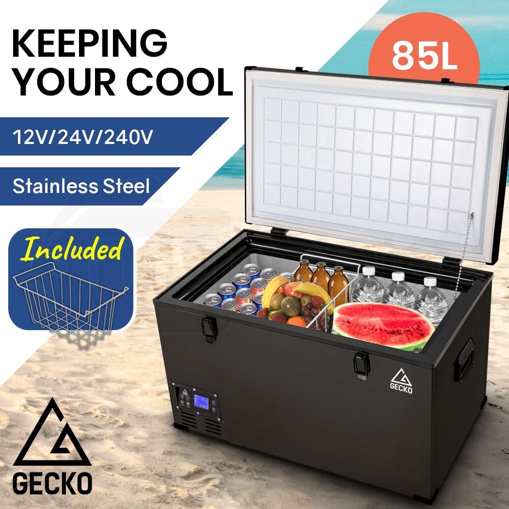 GECKO 85L 12V/24V/240V Portable Camping Fridge Freezer for Caravan Car Black