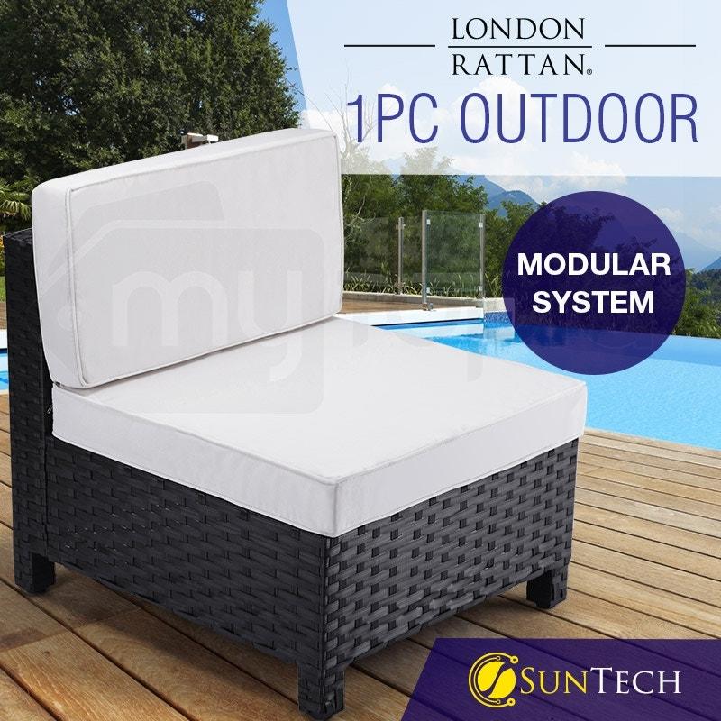 LONDON RATTAN Modular Outdoor Lounge Chair 1pc Wicker Black Light Grey