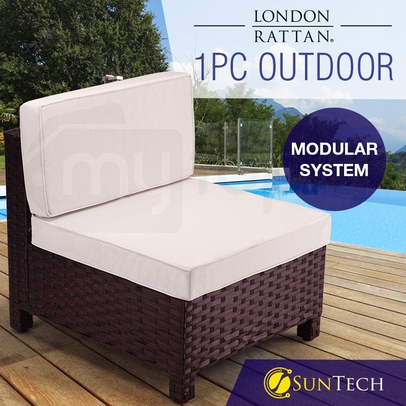 LONDON RATTAN Modular Outdoor Lounge Chair 1pc Wicker Brown Beige