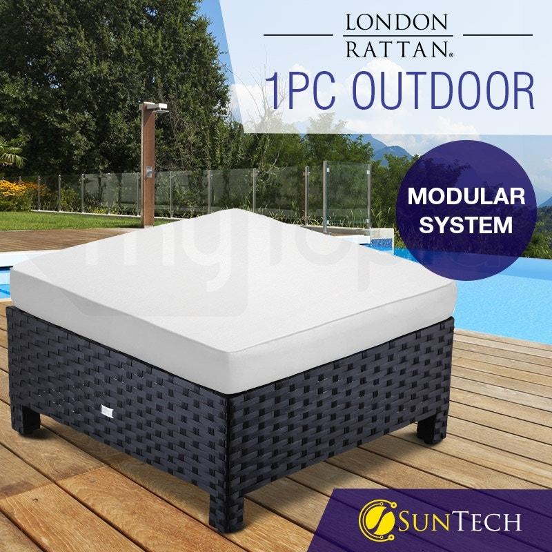 LONDON RATTAN Modular Outdoor Lounge Ottoman 1pc Wicker Black Light Grey