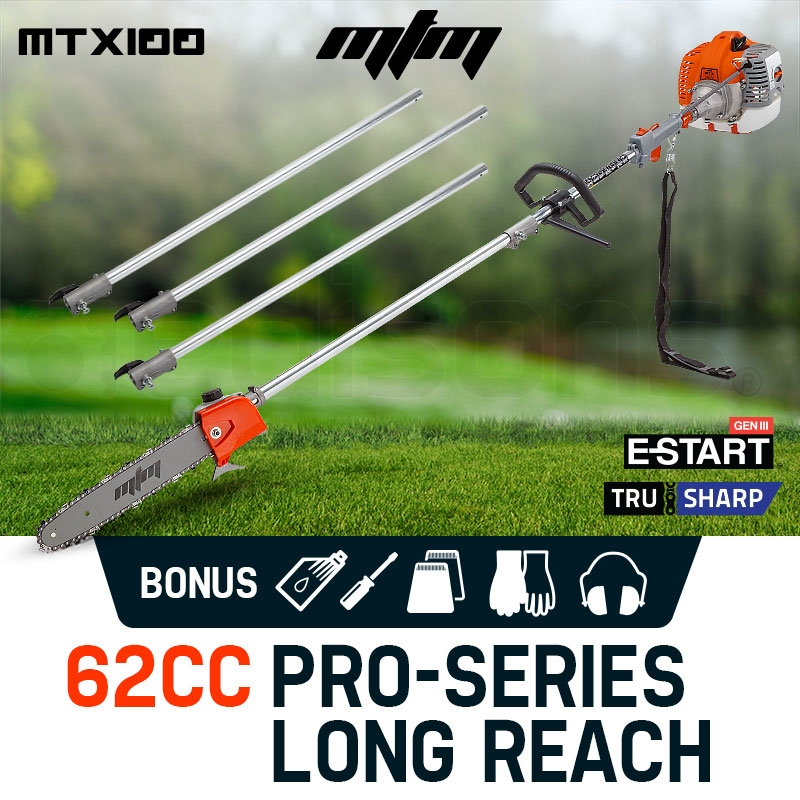 MTM 62CC Pole Chainsaw Petrol Chain Saw Brush Cutter Brushcutter Tree Pruner