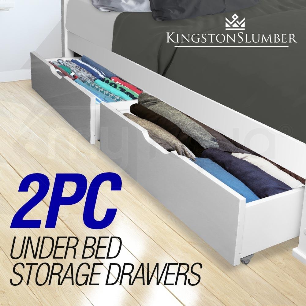 2x Under Bed Storage Drawers White Pine Wooden White Loft Wheels Draw