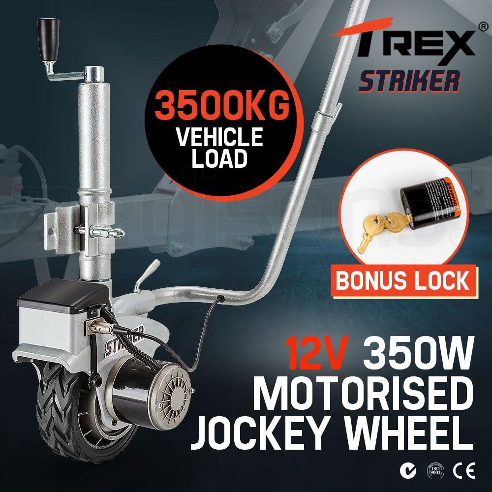 T-REX Powered Jockey Wheel Heavy Duty Electric Motorised 12V 350W for Caravans Trailer Boat Silver