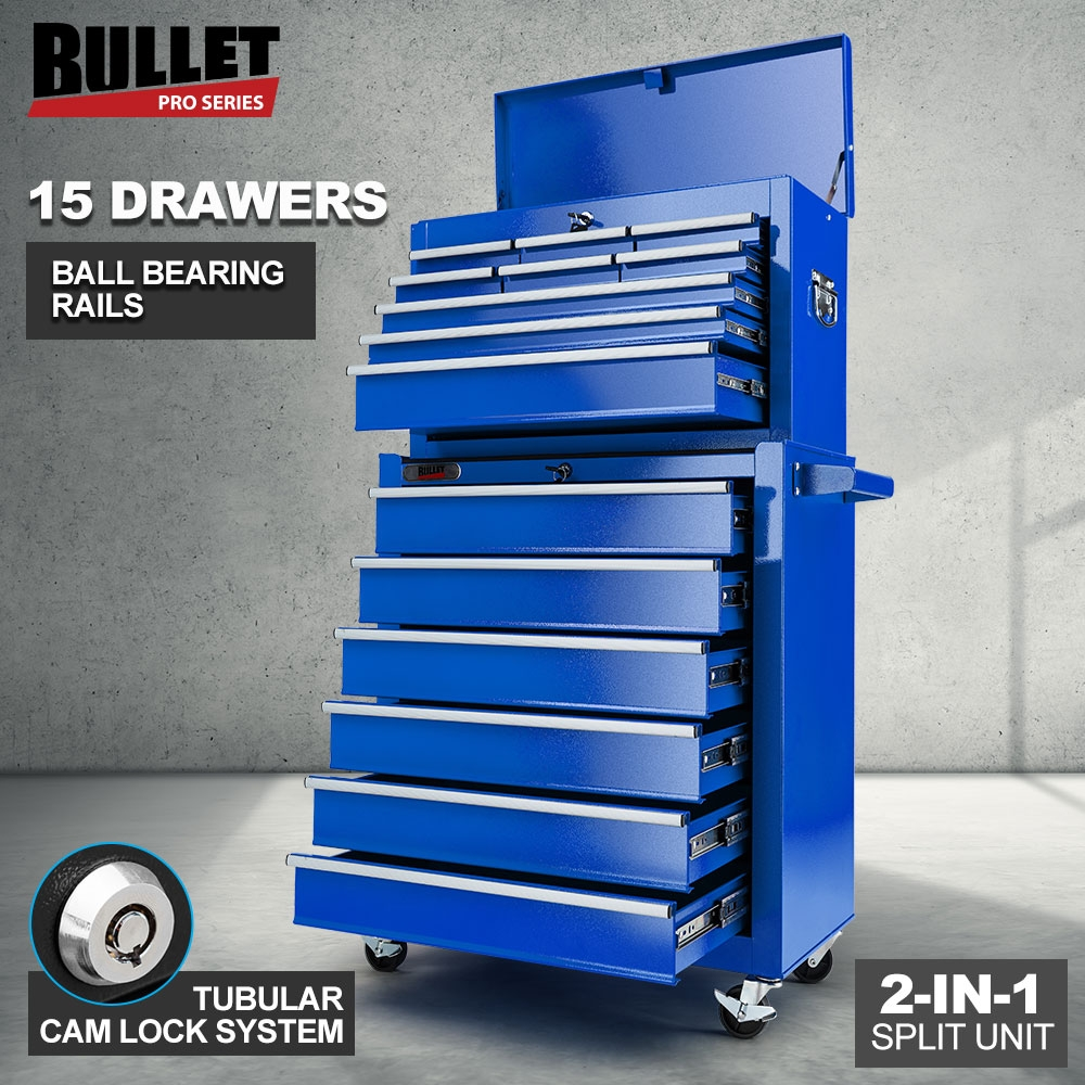 PRE-ORDER BULLET 15 Drawer Tool Box Storage Chest Cabinet Garage Trolley Mechanic Toolbox