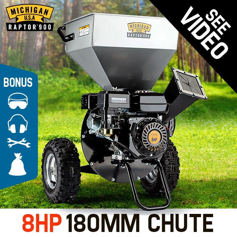 MICHIGAN RAPTOR 900 Wood Chipper/Shredder/Mulcher - 8HP - Upright Style- Garden