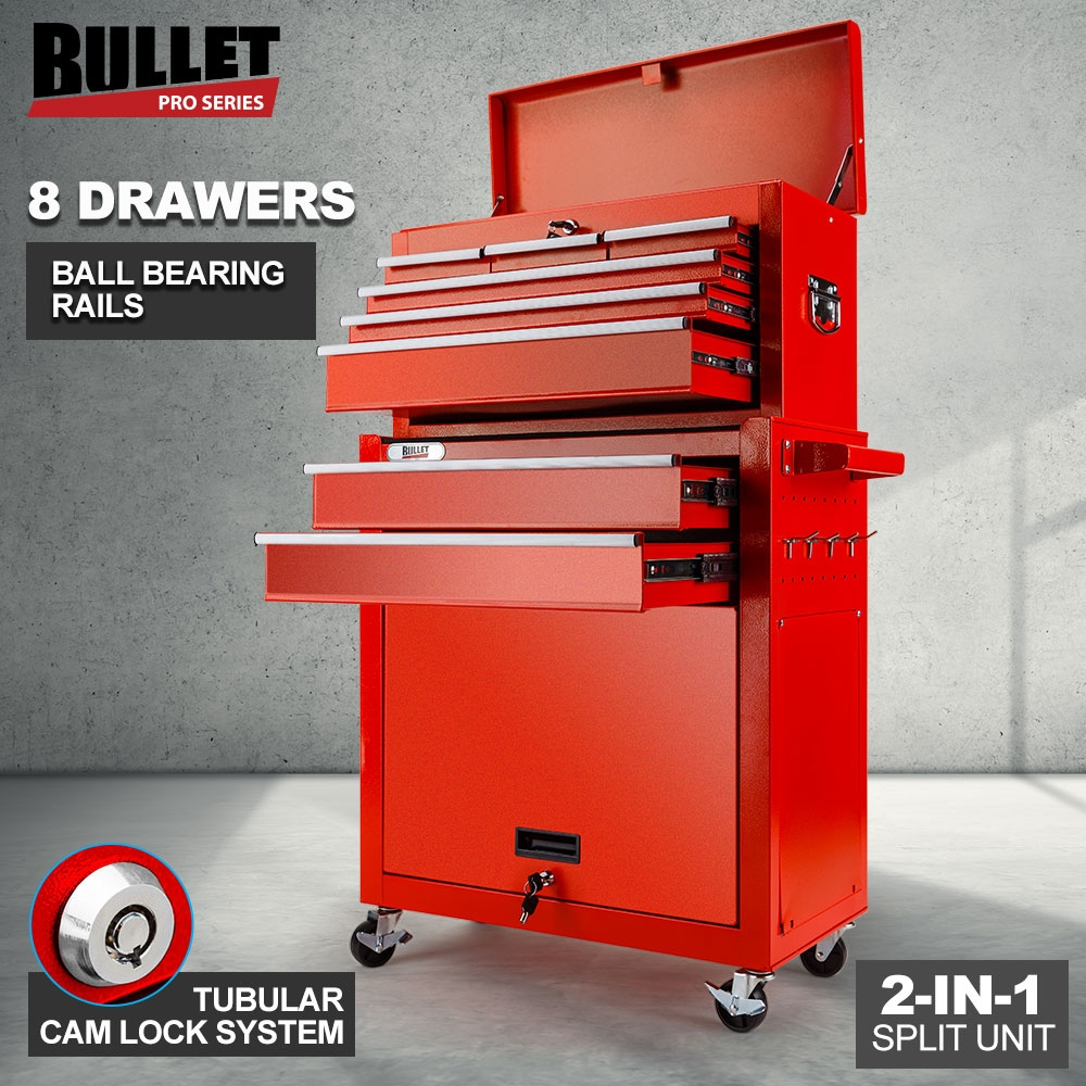 BULLET 8 Drawer Tool Box Cabinet Chest Storage Toolbox Garage Organiser Set Red