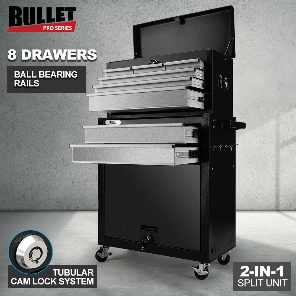 BULLET 8 Drawer Tool Box Cabinet Chest Storage Toolbox Garage Organiser Set Black and Silver