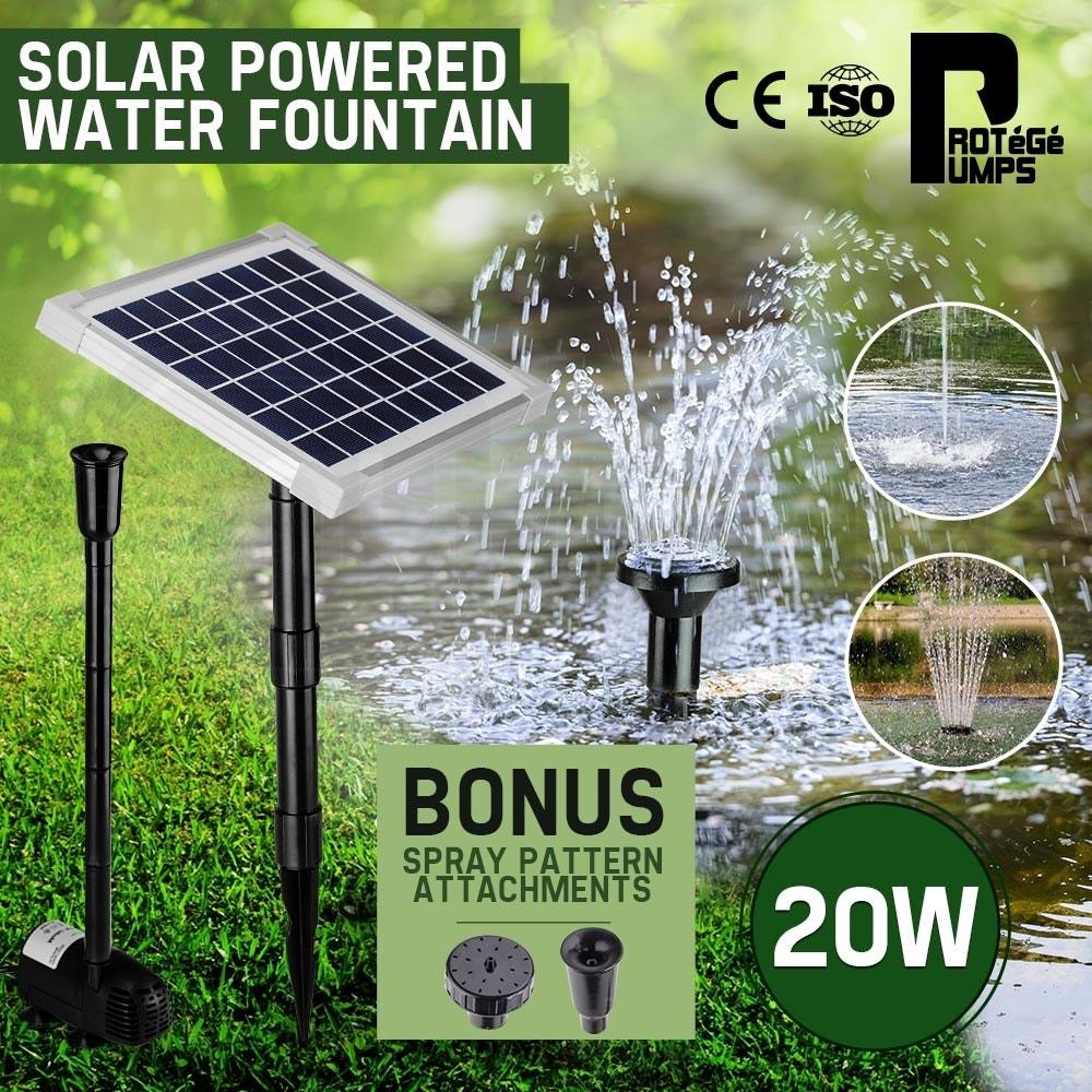 20W Solar Fountain Submersible Water Pump Power Panel Kit Garden Pond