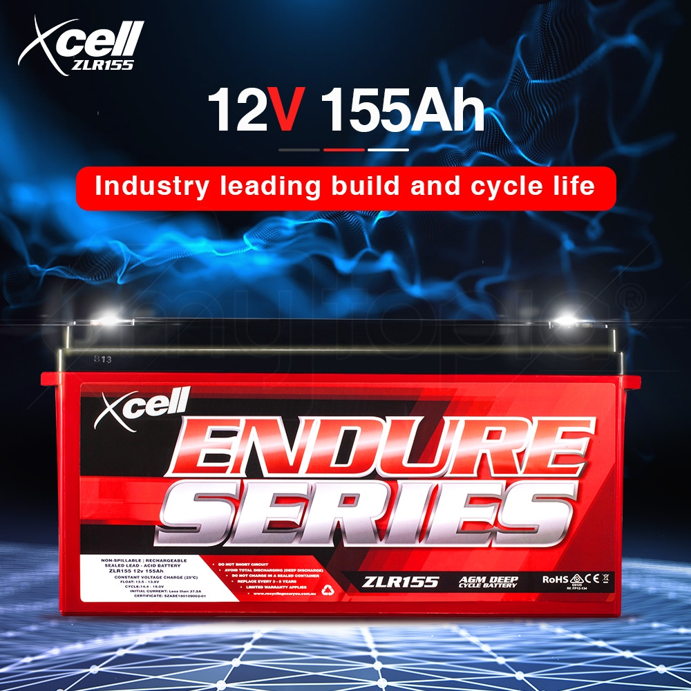 X-CELL AGM Deep Cycle Battery 12V 155Ah Portable Sealed Endure Series - ZLR155