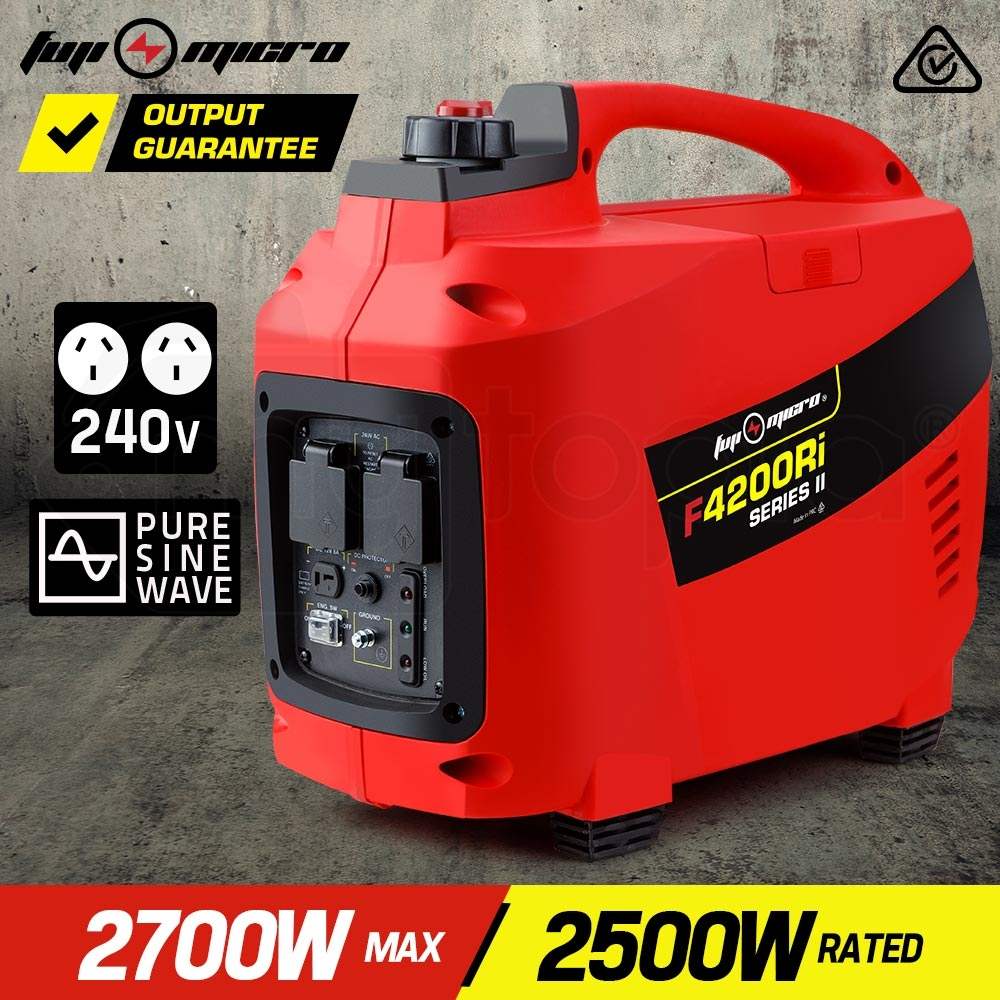 FUJI-MICRO 2700W Pure Sine Wave Portable Camping Petrol Inverter Generator - F4200Ri Series II