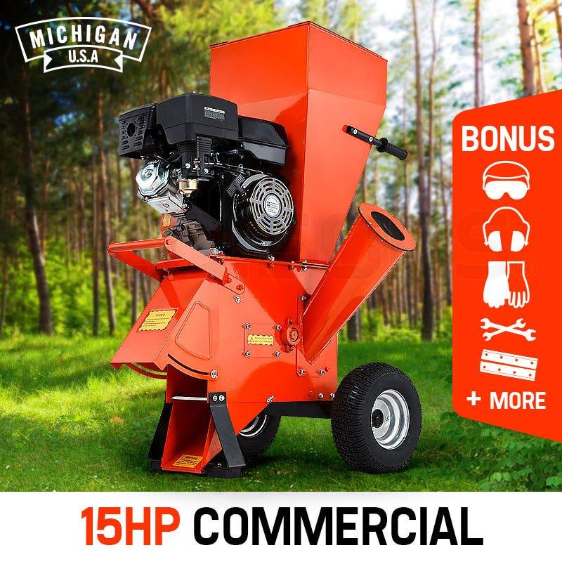 PRE-ORDER MICHIGAN 15HP Commercial Series Wood Chipper Garden Mulcher Shredder Mulch Chip