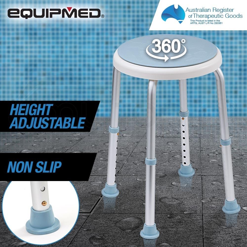 EQUIPMED Shower Chair Stool with Adjustable Swivel Seat Bath Aid Aluminium