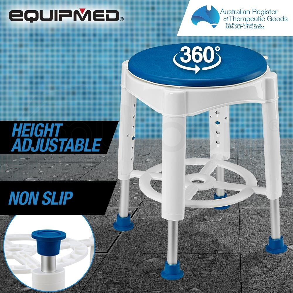 EQUIPMED Adjustable Bath Shower Seat Chair Stool Swivel Rotating Bath Aid