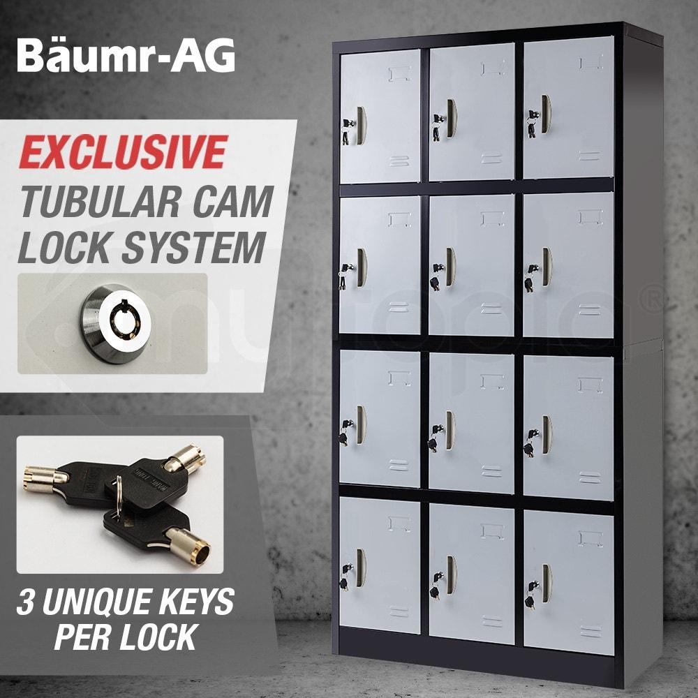 Baumr-AG 12-Door Gym Lockers Steel Locker Storage Office Metal Cabinet Black