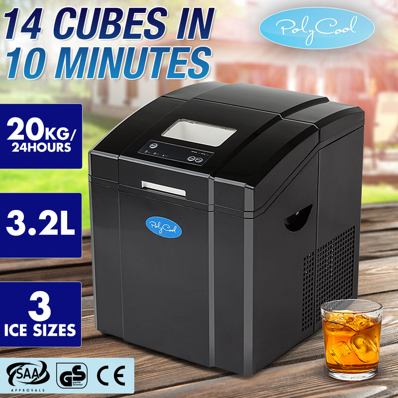 POLYCOOL Portable Ice Cube Maker Machine 3.2L Quick Commercial Home Fast NEW