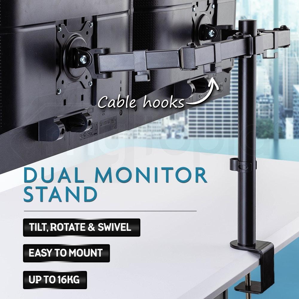 FORTIA Desk Monitor Stand 2 Arm - Dual Computer Holder Screen Riser Bracket