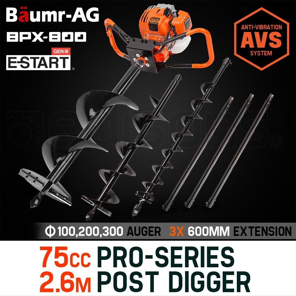 Baumr-AG Post Hole Digger 75CC Posthole Earth Auger Fence Borer Petrol Drill Bit