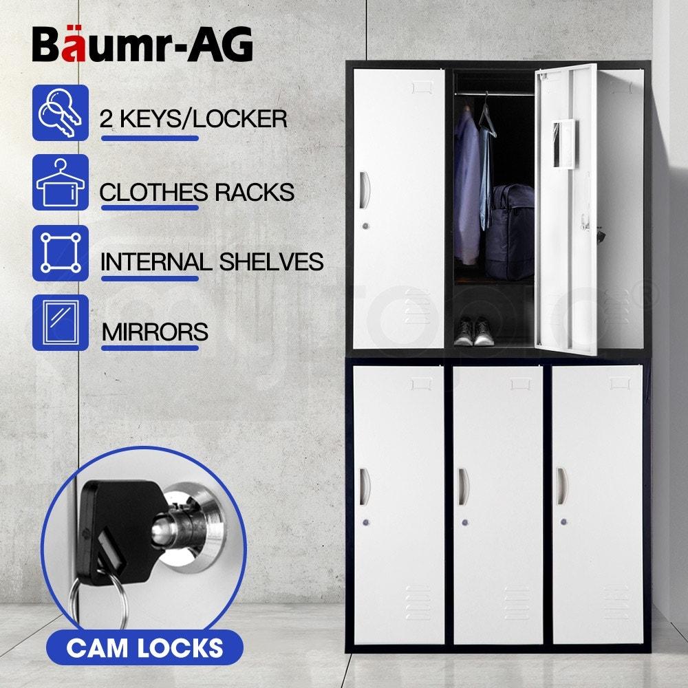 Baumr-AG 6-Door Steel Storage Locker Metal Cabinet Gym Office School Home Shed Black and Grey