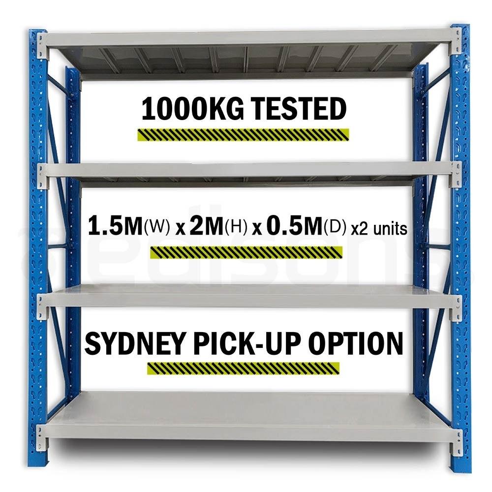 2 x 1.5M x 2M 2000KG Metal Warehouse Racking Storage Garage Shelving Shelves