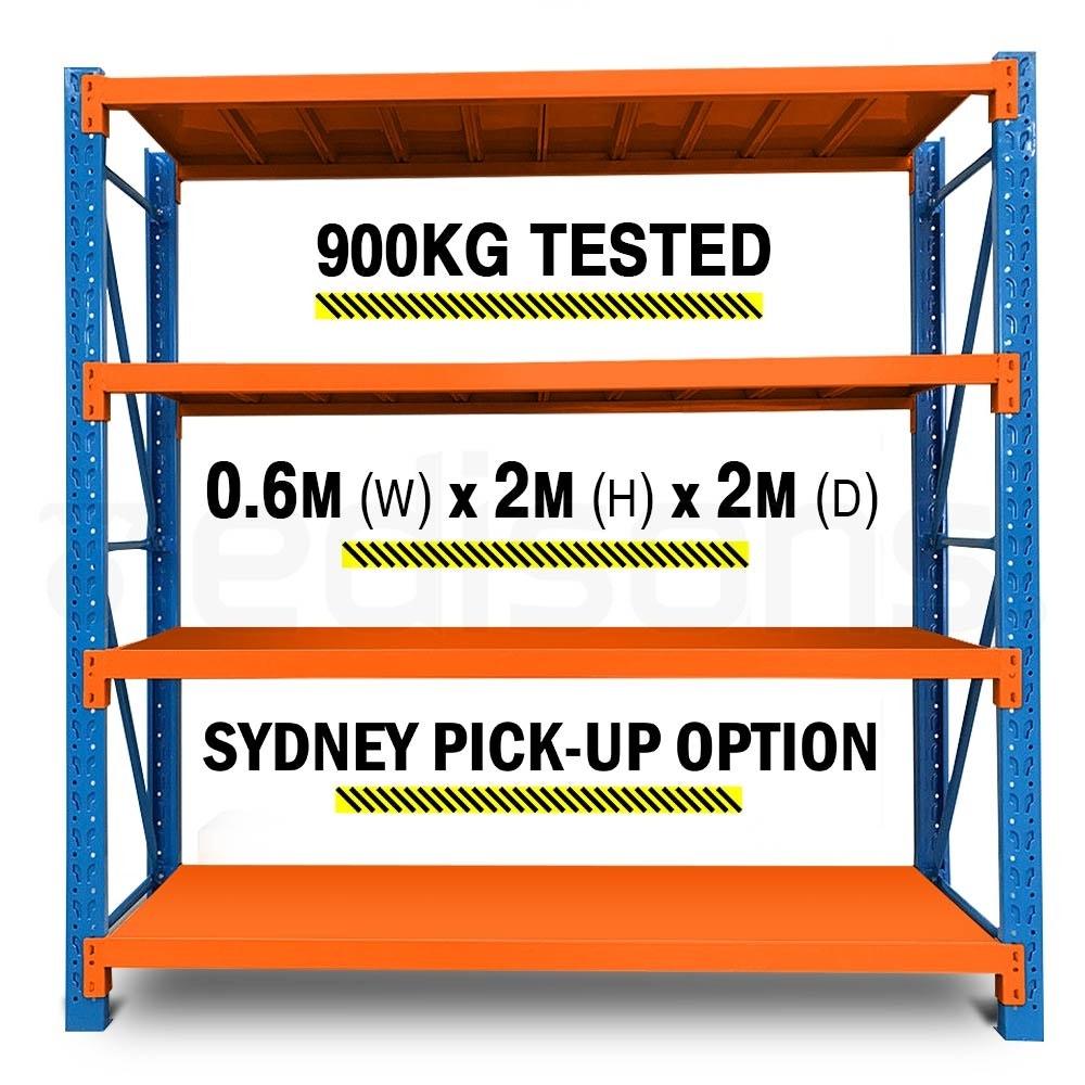 PRE-ORDER 2m x 2m Metal Warehouse Racking Storage Garage Shelving Steel Shelves 4 Tier Blue and Orange