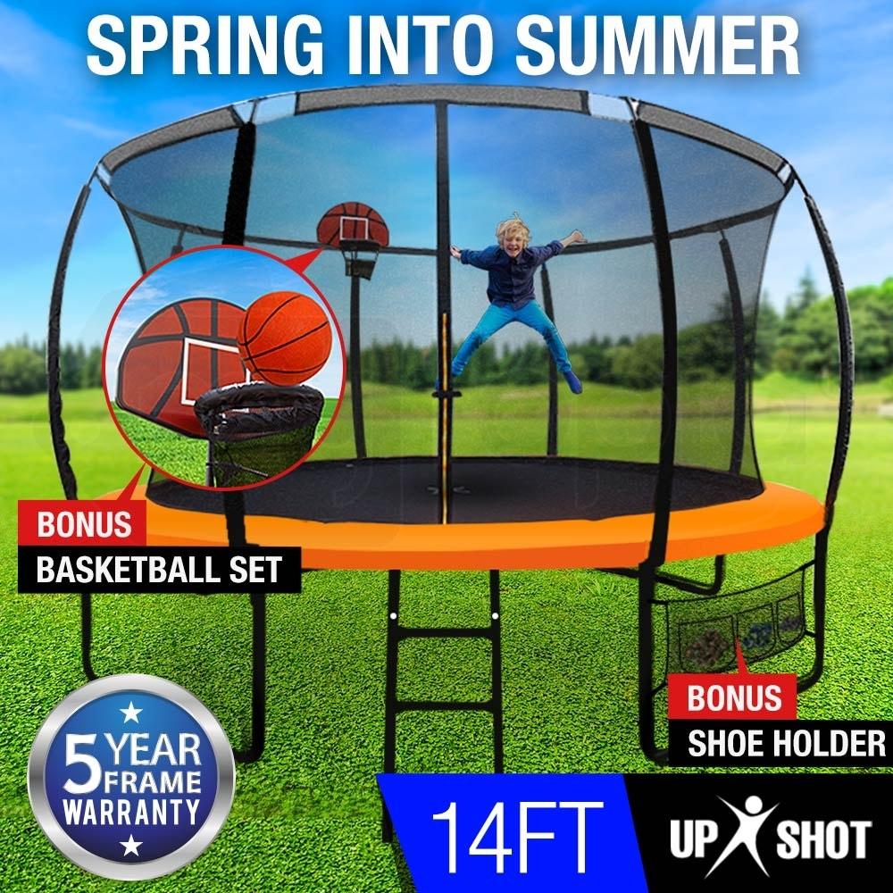 Up-Shot 14ft Round Trampoline FREE Basketball Safety Net Spring Pad Ladder