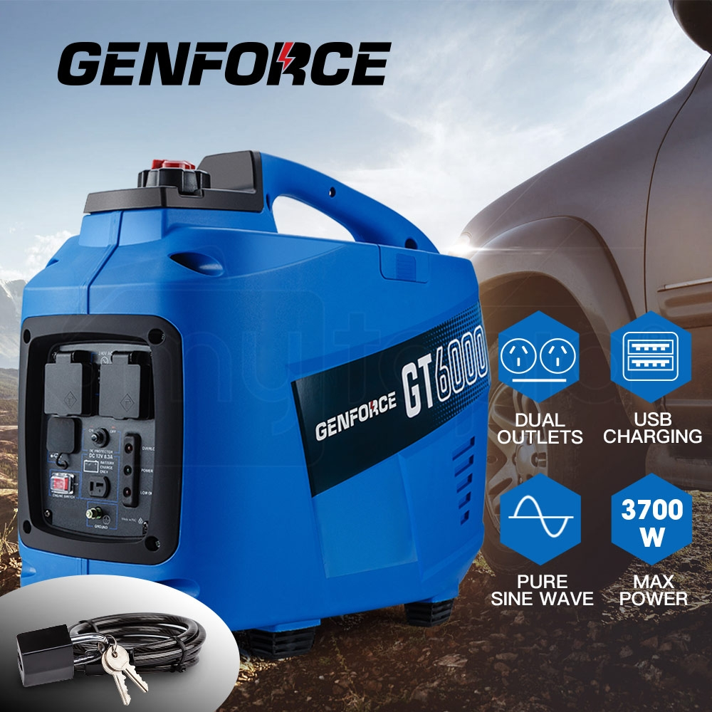 GENFORCE Inverter Generator 3700Watts Max 3200Watts Rated Portable Camping Petrol