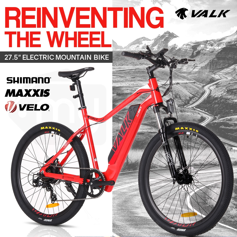"VALK eMTB Maxxis Velo Shimano 36V 250W Electric Mountain Bike eBike 27.5"" Red - MX7"