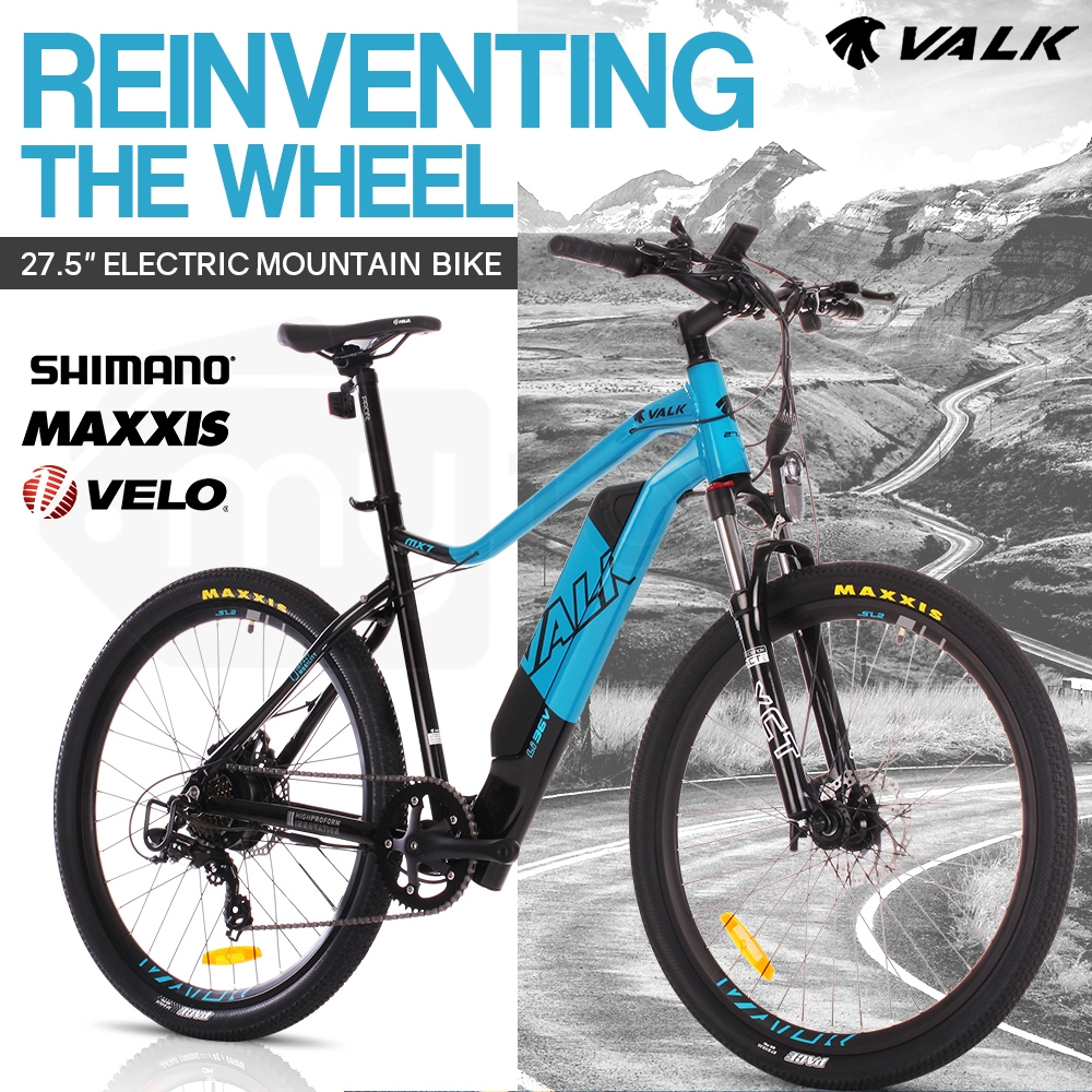 "VALK eMTB Maxxis Shimano Velo 36V 250W Electric Mountain Bike eBike 27.5"" Blue - MX7"
