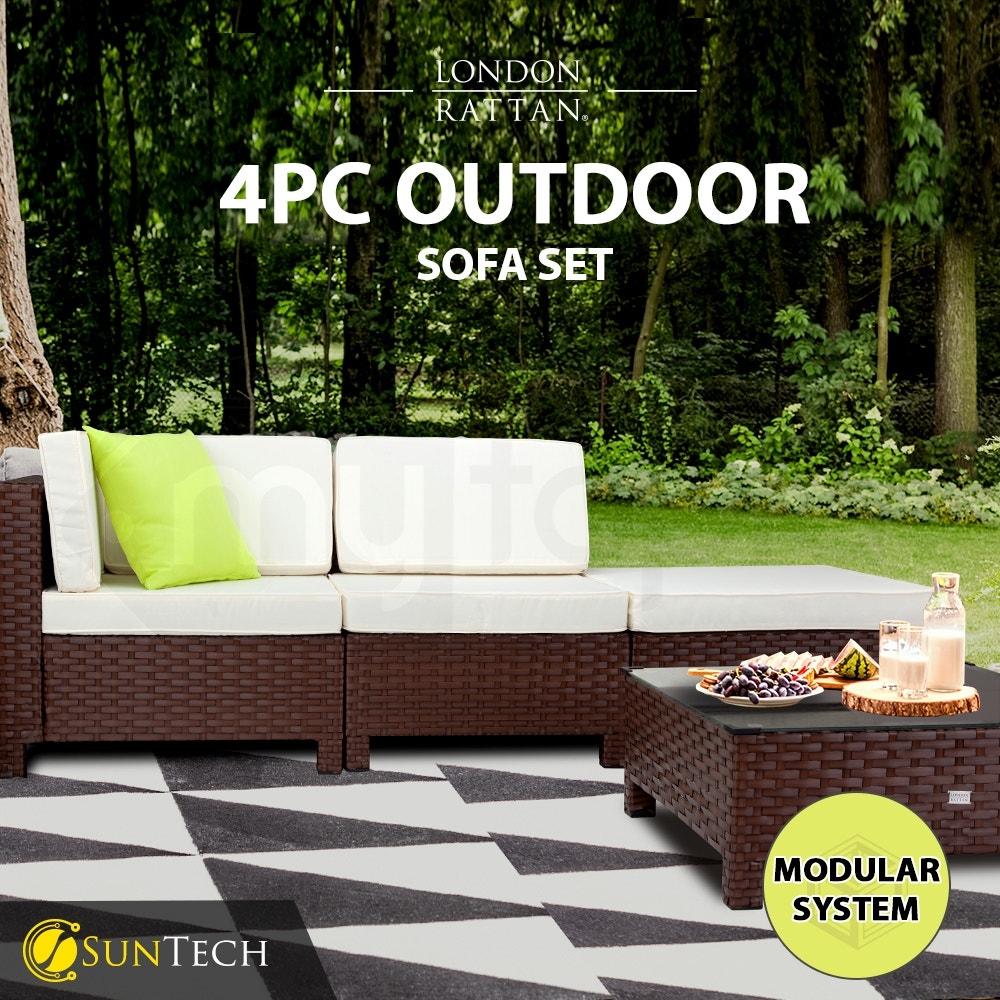 LONDON RATTAN Modular Sofa Outdoor Lounge Set 4pc Wicker Brown Cream