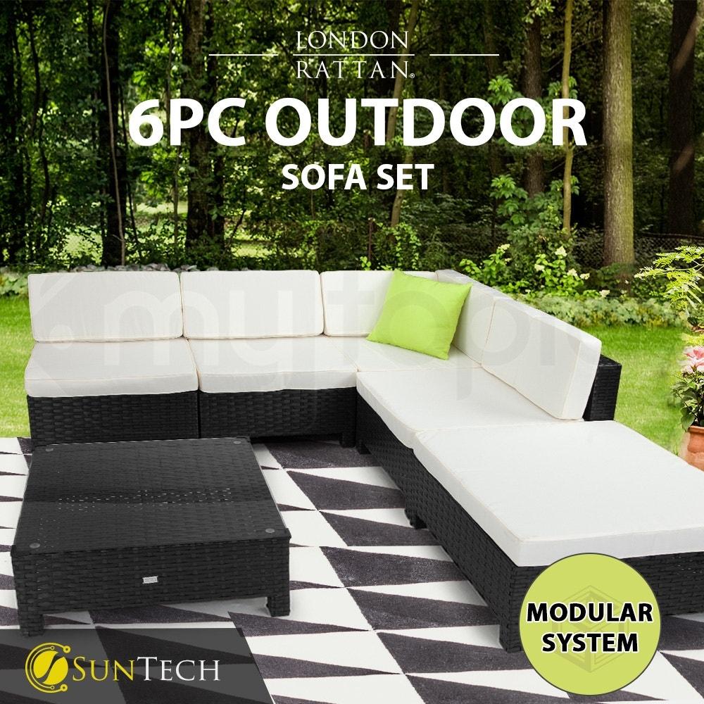 LONDON RATTAN Modular Sofa Patio Outdoor Lounge Set 6pc Wicker Black Light Grey