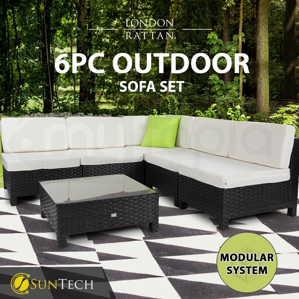 LONDON RATTAN Modular Sofa Outdoor Furniture Set 6pc Wicker Black Light Grey