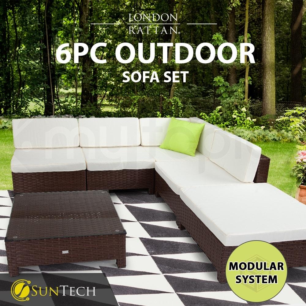 LONDON RATTAN Modular Sofa Outdoor Lounge Set 6pc Wicker Brown Cream