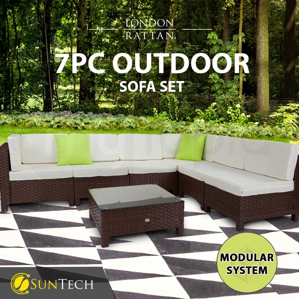 LONDON RATTAN Modular Sofa Outdoor Lounge Set 7pc Wicker Brown Beige
